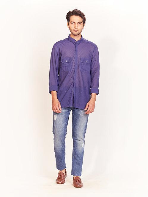 Cobalt Blue Khadi Shirt