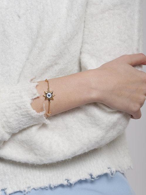 Eye Promise Trinity Gold Chain Bracelet