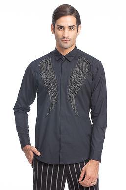 Black Leather Applique Shirt