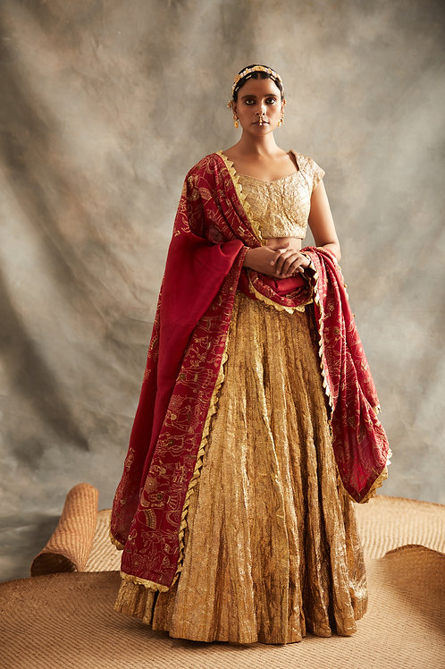 Gold And Red Lehenga Set