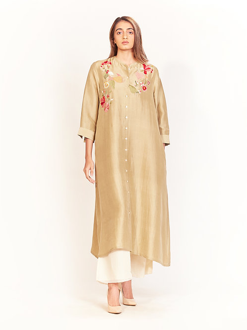Flora Green Embroidered  Silk Tunic