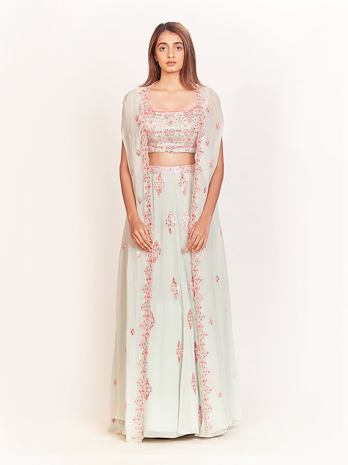 Mint Mirror And Thread Embroidered Lehenga