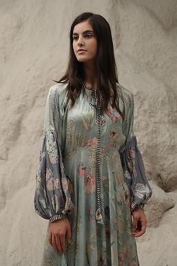 Blue Windflower Print Maxi Dress