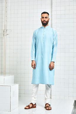Blue Bainsara Pintuck Kurta Set
