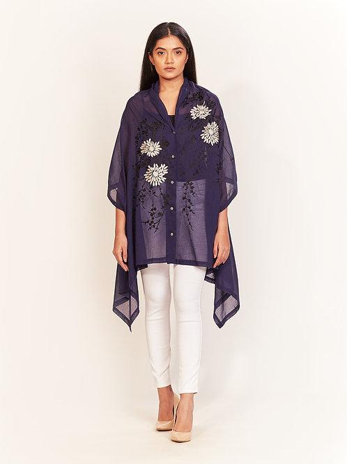 Blue Aari Embroidered Jacket