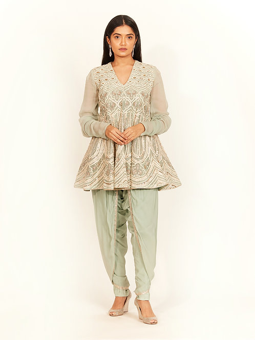Mint Embroidered Short Kalidar With Dhoti Pants