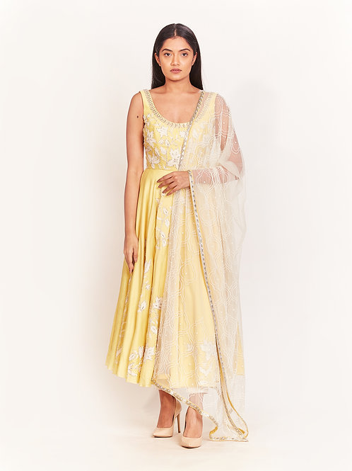 Yellow Pearl Embellished Micro-Pleated Anarkali Set