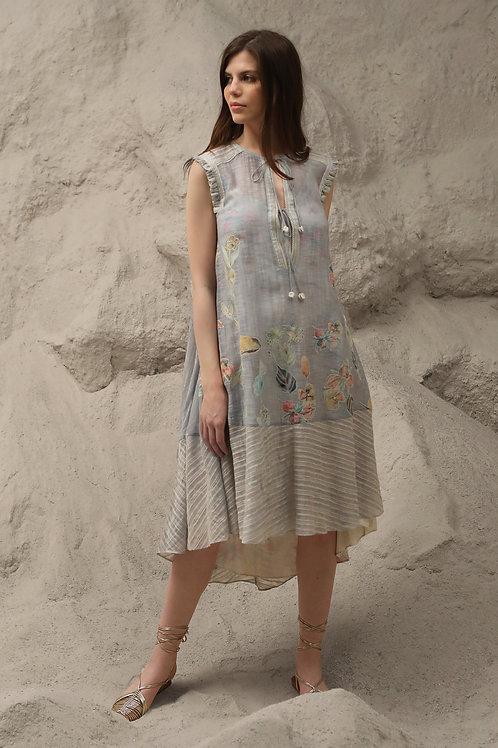 Blue Wind Flower Midi Dress