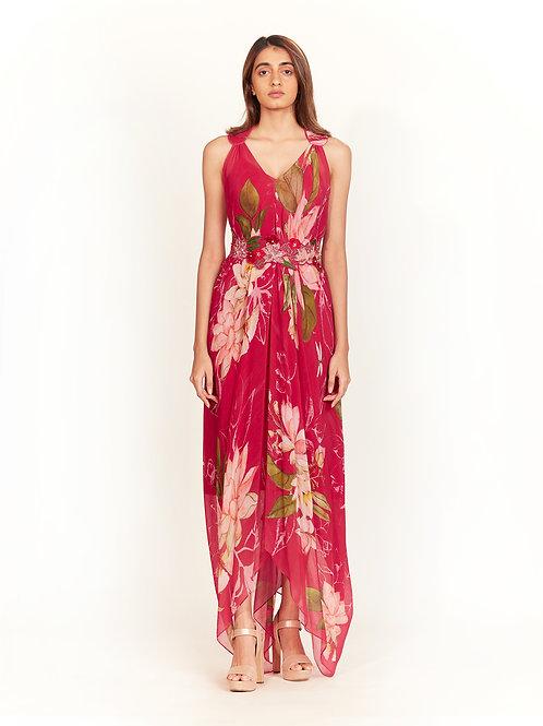 Pink Floral Printed Dress