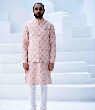 Old Rose Embroidered Kurta Set