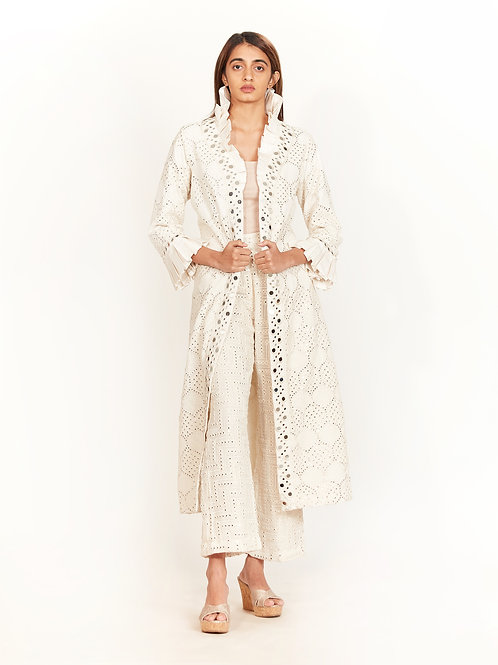 Ivory Mirror Long Overlay Jacket