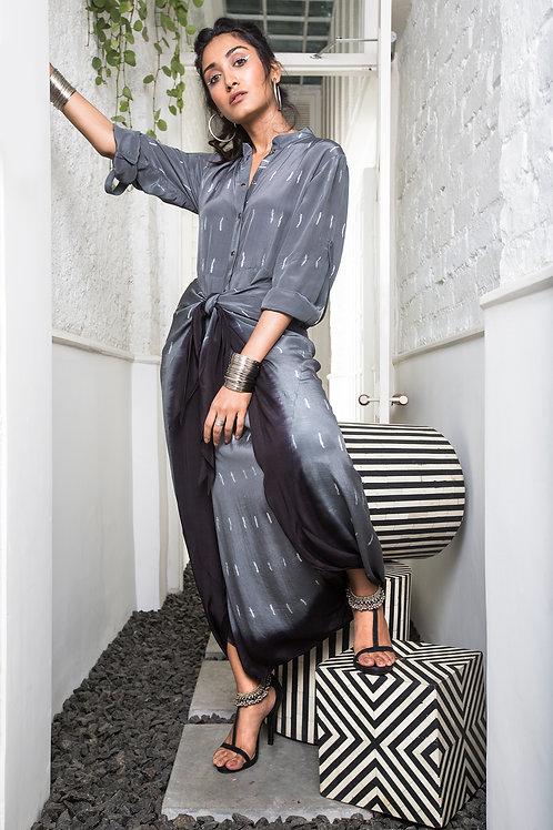 Grey T-shirt Dhoti Jumpsuit