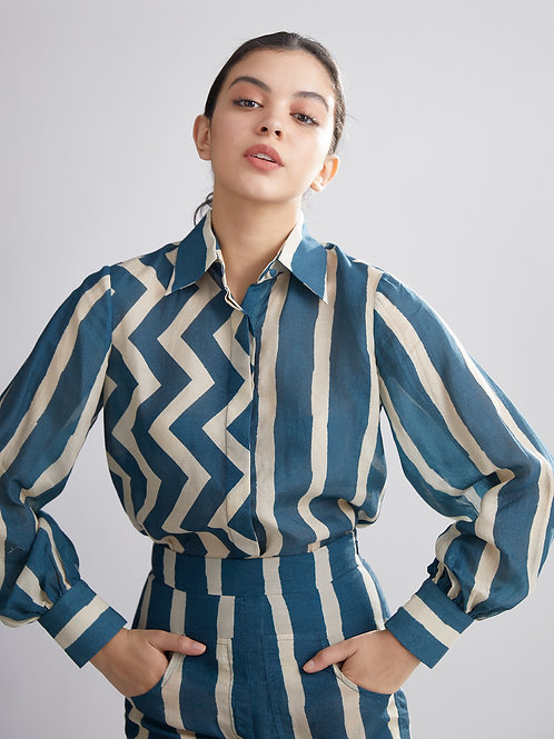 Teal And Cream Stripe Zig Zag Shirt