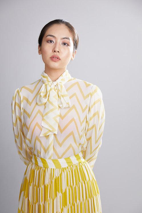 Cream And Yellow Zig Zag Bow Shirt