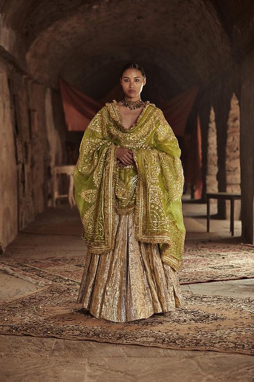 Gold And Olive Green Aliya Sona Aanarkali Set