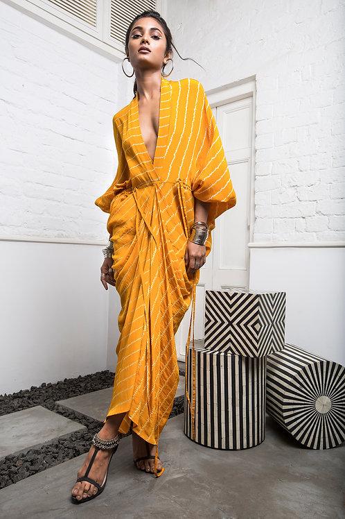 Yellow Drawstring Kite Dress