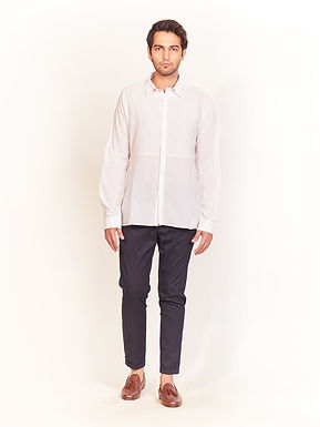 White Front Straight Striped Shirt