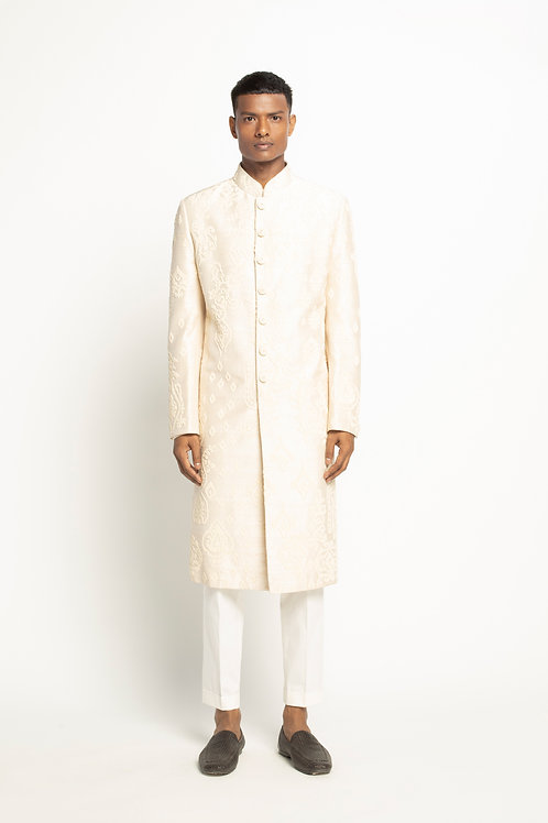 Ivory Pearl Embroidered Sherwani Set