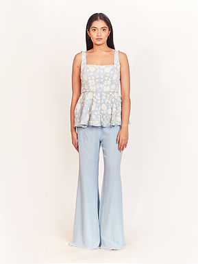 Blue Pearl Embellished Peplum Blouse And Bell Pant Set