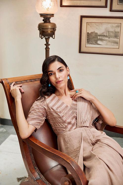 Rose-Gold Saree Dress
