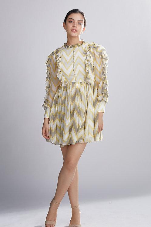 Grey,Yellow And Cream Zig Zag Short Dress