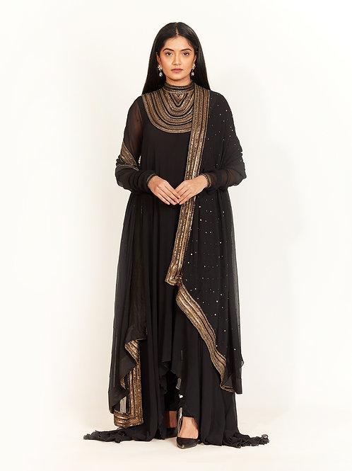 Black Embellished Bias Kurta Set
