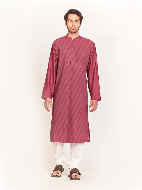 Burgundy Pleated Kurta Set