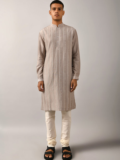 Grey Contrail Kurta Set