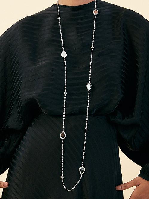 Silver dew drop mirror long necklace