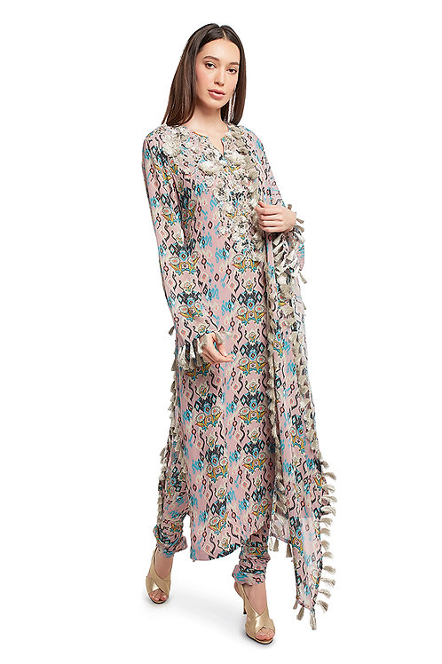 Pink Printed Georgette Kurta Set