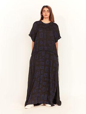 Black Shibori Long Drawstring Tunic