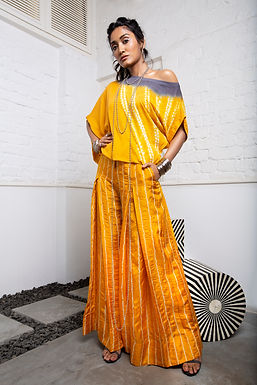 Mustard Off Shoulder Top And Box Pleat Pants Set