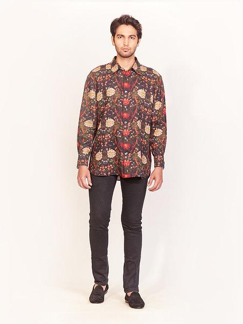 Black Multi-Color Floral Digital Print Linen Shirt