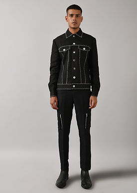 Black Morse Code Denim Jacket