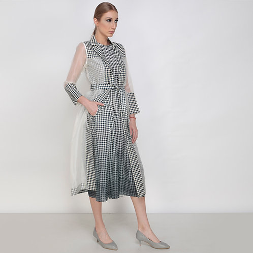 Rays On Houndstooth Jacket  And Jumpsuit Set