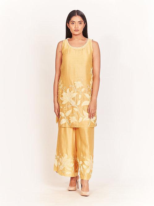 Yellow Embellished Short Kurta And Culottes Set
