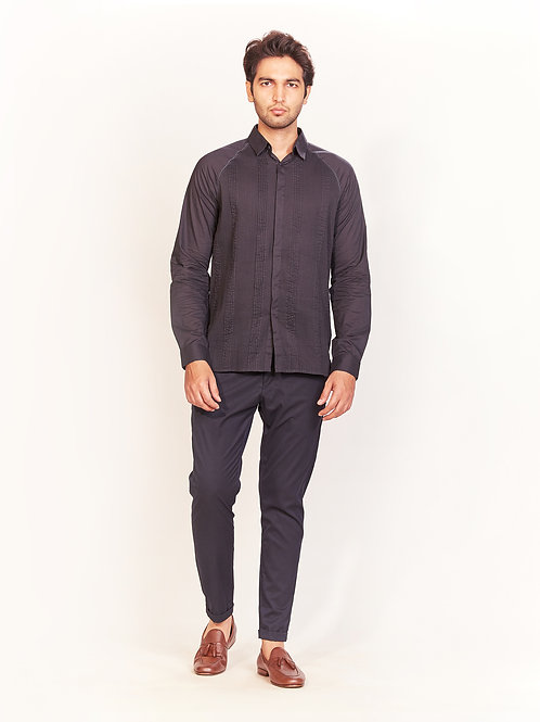 Charcoal Graded Pleat Shirt