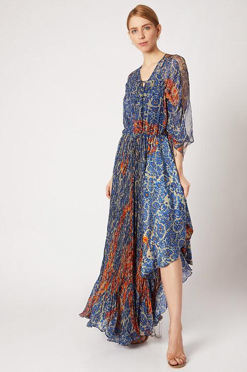 Blue Floral Print Dress