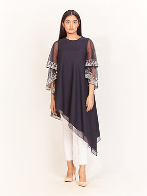 Midnight Embroidered Uneven Hem Tunic