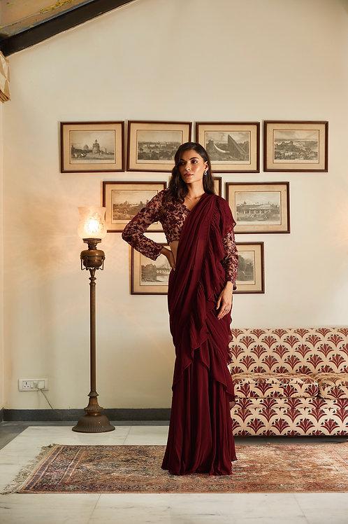 Wine Sharara Saree