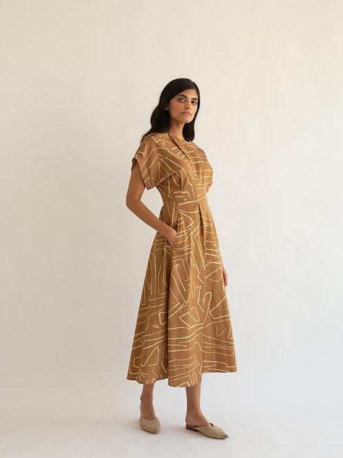 Abstract Print Crew Dress