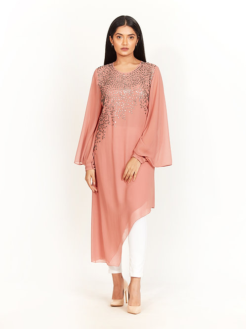 Apricot Embellished High-Low Tunic