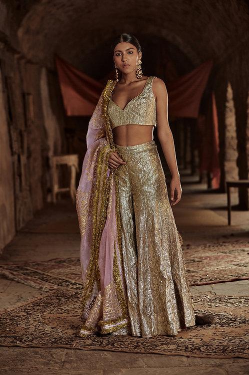 Gold And Light Pink Firoza Chaandi Sharara Set