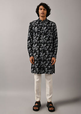 Black Houndstooth Front Open Kurta