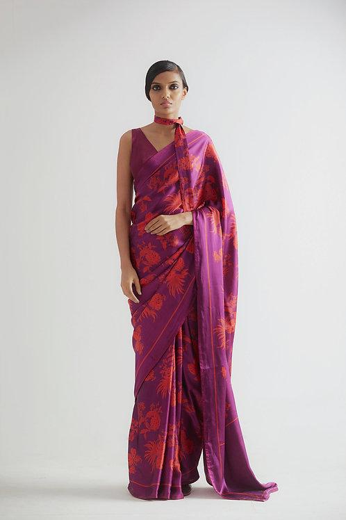 Purple Bentota Print Saree