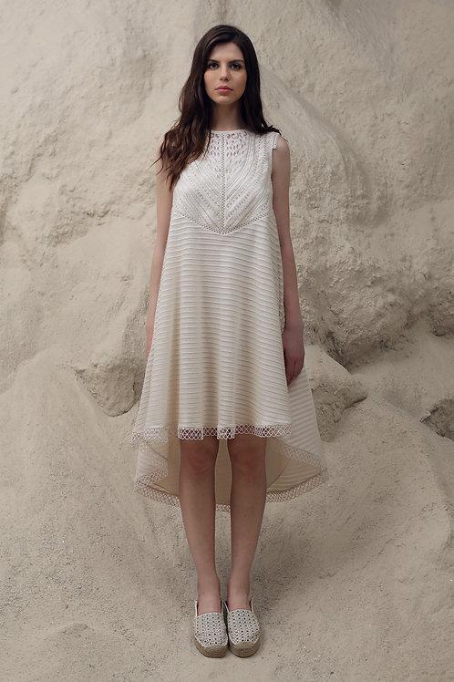 Ivory Applique Midi Dress
