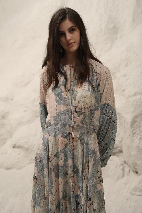 Blue Mosaic Floral Print Maxi Dress