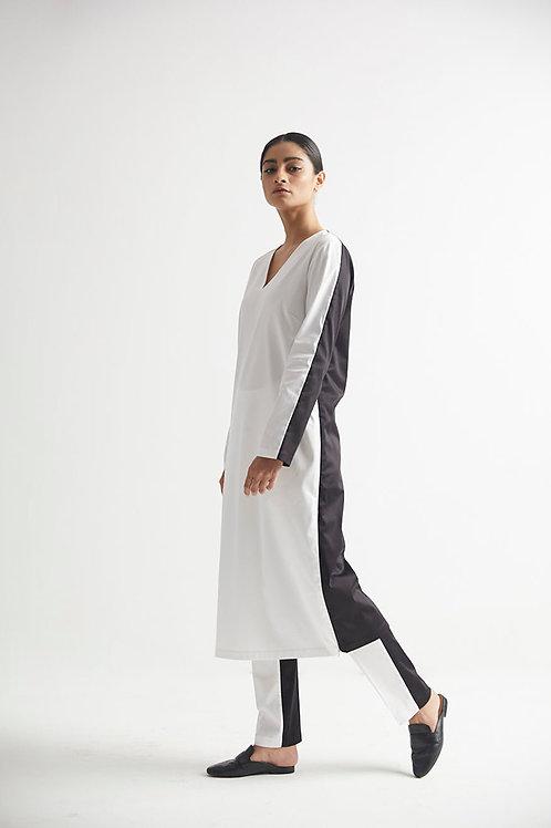 White Color Block Kurta Pant Set
