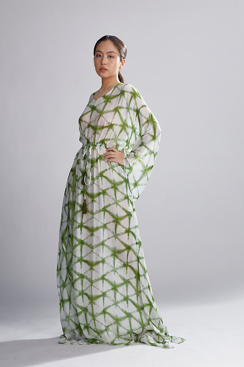 Cream And Green Shibori Kaftan
