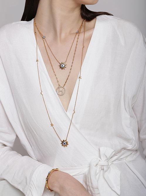 Three Layered Celeste Eye Promise Gold Necklace